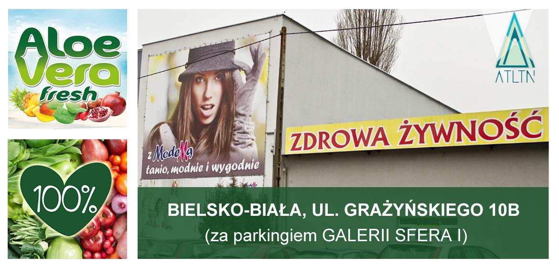 Aloe Vera Fresh i soki 100% w sklepie ze zdrową żywnością w Bielsku-Białej, ul. Grażyńskiego 10B