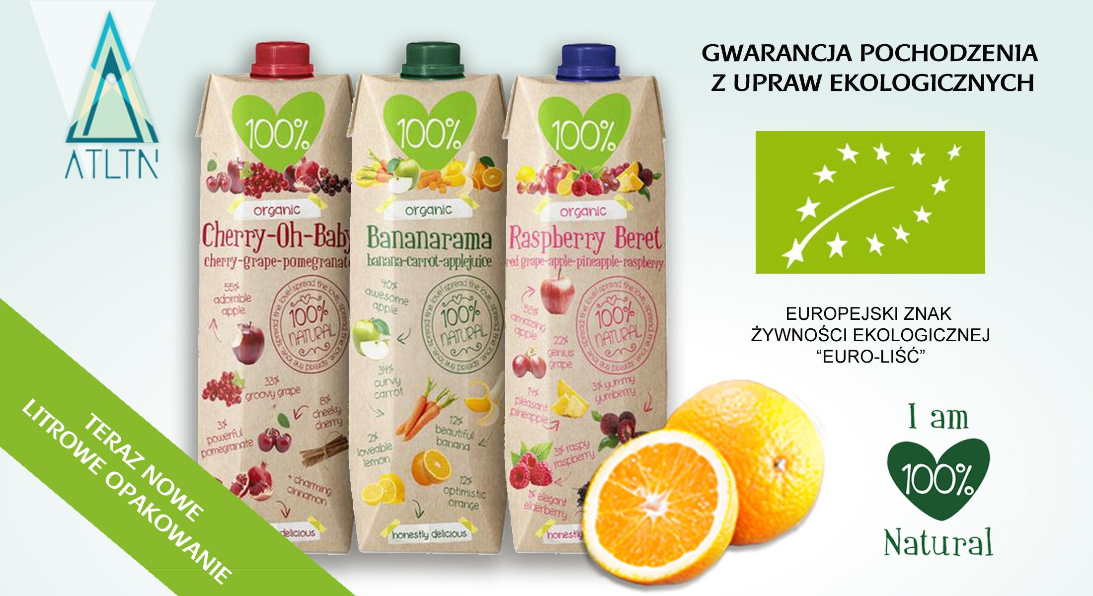 nowe litrowe soki 100% gwarancja pochodzenia z ekologicznych upraw